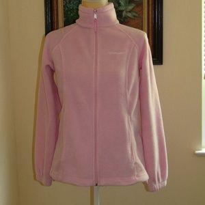 COLUMBIA zip up fleece pink toggle zip pockets S